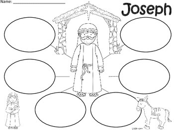 A+  Joseph (from the Christmas Nativity) ... Three Graphic Organizers