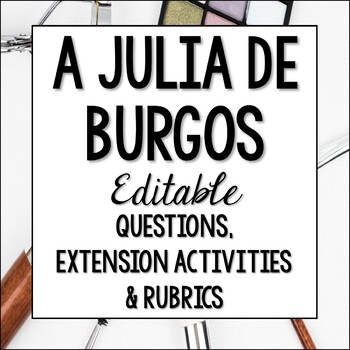 A Julia de Burgos Questions and Extension Activity - Poesia - Hispanic Poetry