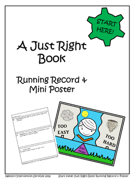 A Just Right Book (Student Running Record & Mini Poster)