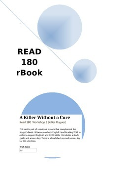 A Killer Without a Cure - Read 180 rBook  (Workshop 2) English1 Supplement