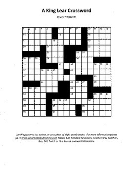 A King Lear Crossword, William Shakespeare, Fun Review with Crossword