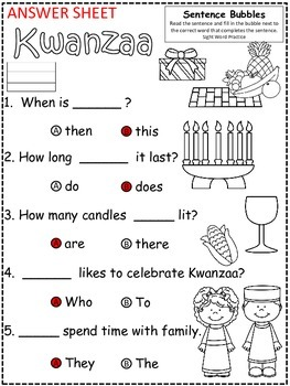 A+ Kwanzaa: Fill In the Blank.Multiple Choice Sight Word Sentences