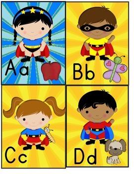 A-L Super Hero Kids Alphabet cards