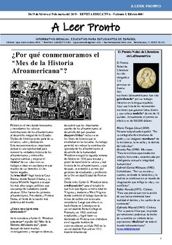 """A LEER PRONTO"", MONTHLY INFORMATIONAL NEWSLETTER IN SPANISH (A4)"