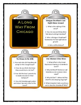 A LONG WAY FROM CHICAGO by Richard Peck * Discussion Cards