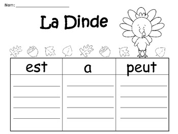 A+ La Dinde: French Graphic Organizers