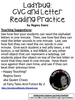 A+ Ladybug CVC Words And Letter Reading Practice