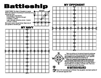photo regarding Battleship Game Printable called A Laude And Longitude Battleship Video game Worksheets TpT