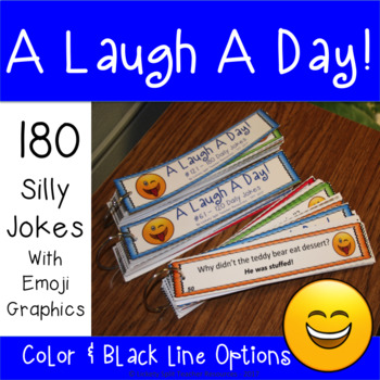 A Laugh a Day - 180 Funny Jokes with Emoji Accents - Color & Low Ink Versions