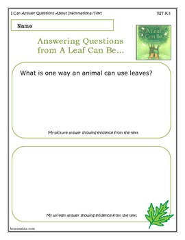 A Leaf Can Be... Kindergarten Common Core Activity Sheets