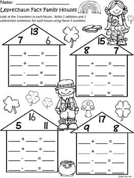 A+ Leprechaun: Fact Family Houses....St. Patrick's Day Math