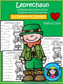 A+ Leprechaun: Math... Addition and Subtraction Differentiated  Practice