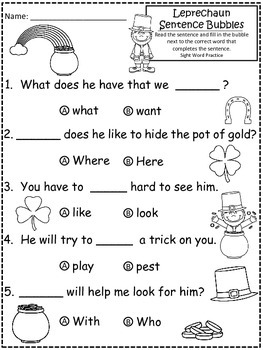 A+ Leprechaun: Fill In the Blank.Multiple Choice Sight Word Sentences