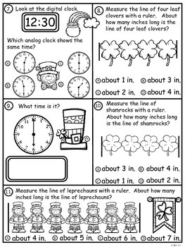 A+  Leprechauns And Clovers Math: Clocks and Measurement