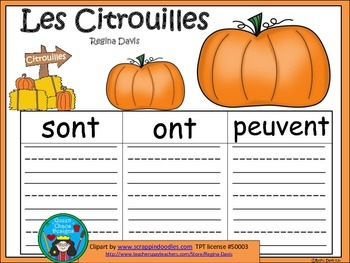 A+ Les Citrouilles: French Graphic Organizers