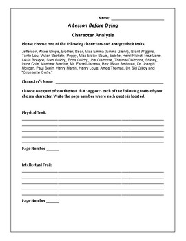 A Lesson Before Dying - Character Analysis Activity - Ernest J. Gaines