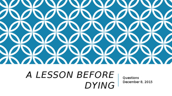A Lesson Before Dying: Group Review Activity
