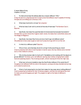 A Lesson Before Dying Quiz - Chapters 1-19