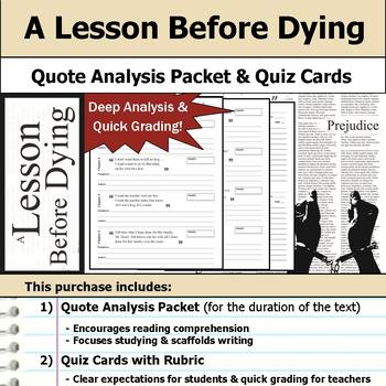 A Lesson Before Dying - Quote Analysis & Reading Quizzes