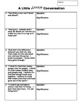 A Lesson Before Dying Quote Analysis Worksheet