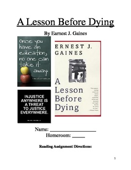 A Lesson Before Dying Reading Packet
