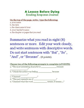 A Lesson Before Dying Reading Response Journal