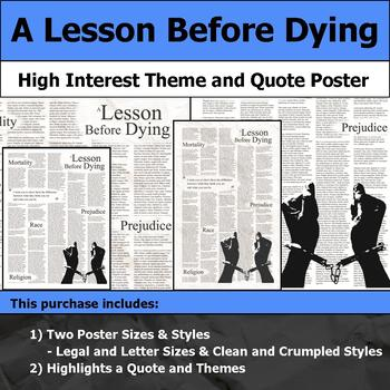A Lesson Before Dying - Visual Theme and Quote Poster for Bulletin Boards