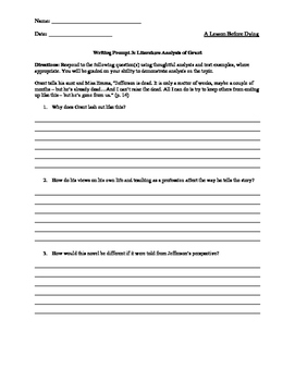 A Lesson Before Dying Writing Prompts