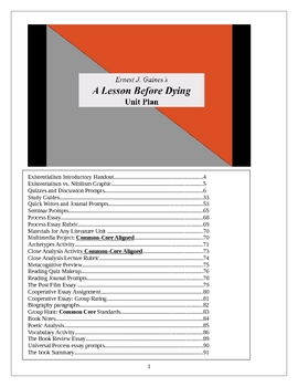 A Lesson Before Dying lesson plans, Unit, 91 pp. of activities