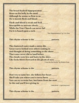 Lesson in Rhyme Scheme - Examples, Worksheets, Answer Key