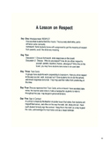 A Lesson on Respect