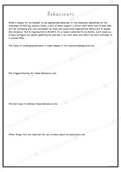 A Letter To My Pre School Teacher: Parent/Teacher Support Document