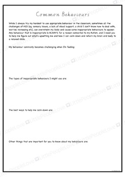A Letter To My Teacher: Parent/Teacher Support Document