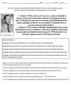 A Letter to Oskar Schindler