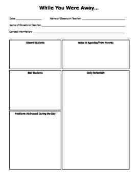 A Letter to the Classroom Teacher (Substitute Teacher Form)