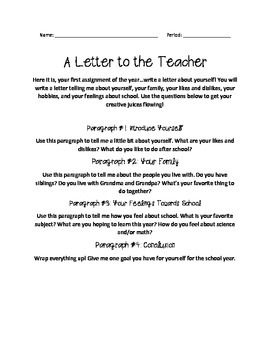 A Letter to the Teacher