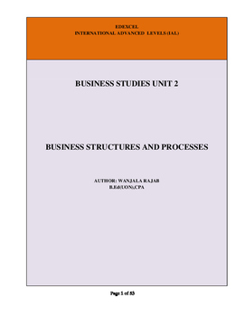 A Level Business Studies Unit 2: Business Structures & Processes(Full Notes)