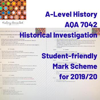 A-Level History (AQA 7042) Student-Friendly Mark Scheme Historical Investigation