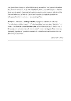 A Level Italian. Politics. La reazione della stampa: dimissioni di Berlusconi.