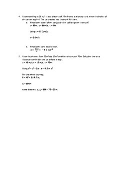 A Levels Physics : Kinematics (Linear Motion) Worksheet and Answer