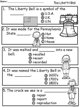 A+ Liberty Bell Comprehension For Guided Reading...American Symbols