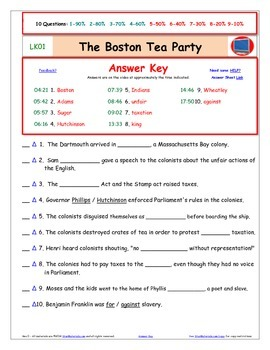 "A Liberty's Kids ** LK01-""Boston Tea Party"" Worksheet, Ans Sheet, Four Quizzes"