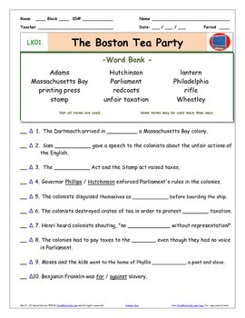 a liberty s kids lk01 boston tea party worksheet ans sheet four quizzes. Black Bedroom Furniture Sets. Home Design Ideas