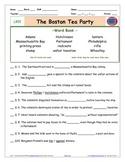 "A Liberty's Kids * LK01 -""Boston Tea Party"" Worksheet, Ans Sheet, Four Quizzes"