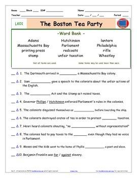 """A Liberty's Kids ** LK01-""""Boston Tea Party"""" Worksheet, Ans"""