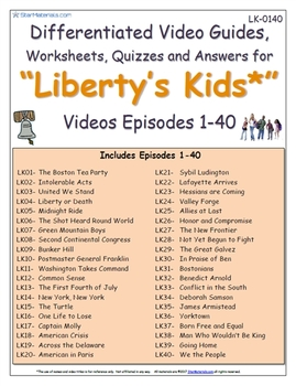 A Liberty's Kids ** Episode 01-40 - Worksheet, Ans Sheet, Four Quizzes-LK0140