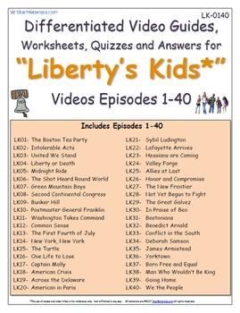 A Liberty's Kids ** Episode 01-40 - Worksheet, Ans Sheet, Four Quizzes-LK0140