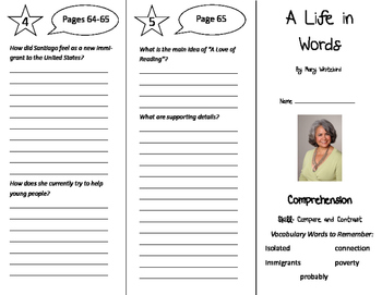 A Life in Words Trifold - California Treasures 6th Grade Unit 1 Week 3