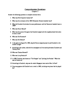 A Life of Knuckleballs - Chapter 2 Questions and Vocabulary