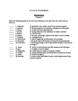 A Life of Knuckleballs - Chapter 4 Questions and Vocabulary